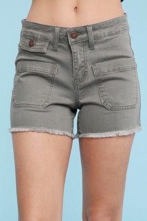 Olive Patch Pocket Shorts