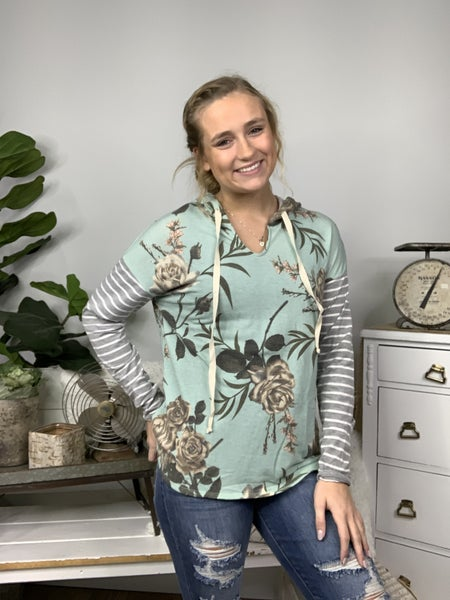 Sage Long Sleeve Floral Hoodie with Striped Sleeve *Final Sale*