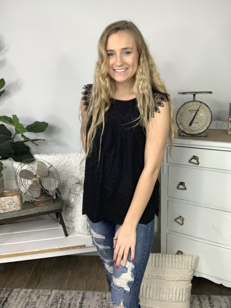 Black Eyelot Sleeveless Top with Babydoll Fit