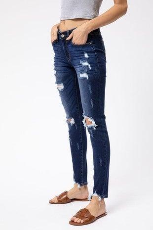 Dark Distressed Mid Rise Super Skinny Jean