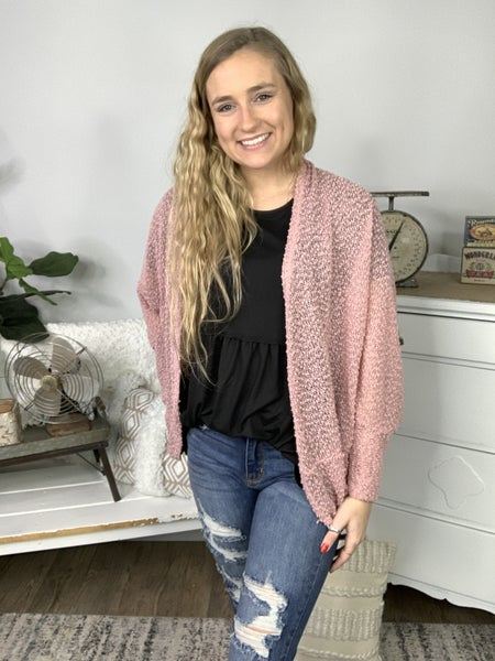 Pink Long Dolman Sleeve Cardigan *Final Sale*