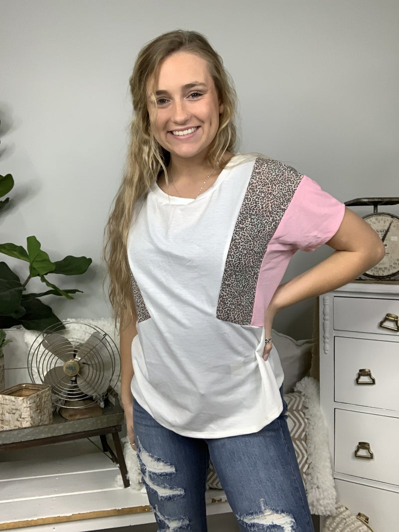 Ivory Short Sleeve Color Block Top with Cheetah Print Detail *Final Sale*