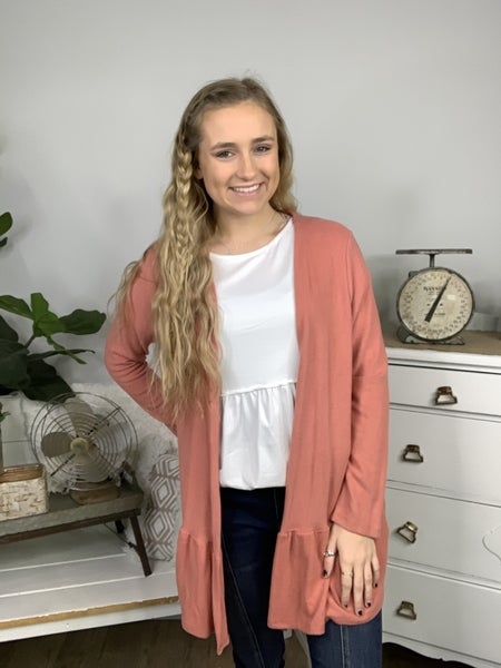 Terracotta Cashmere Feel Cardigan with Tiered Hemline *Final Sale*