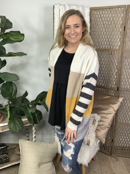 Multi Color Block Stripe Cardigan