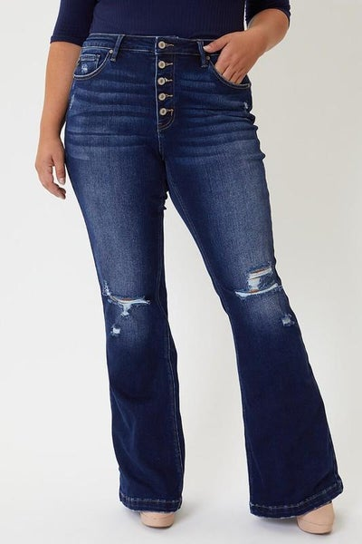 The Presley Dark Wash Distressed 5-Button Flares