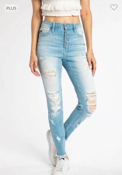 Light Wash Button Fly Distressed Skinnies