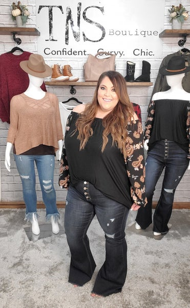 The Priscilla Distressed Button Fly Flares - SALE