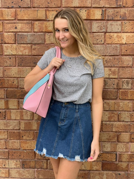 Distressed Jean Skirt w/ Snap Waist