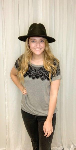 Light Gray Lace T-shirt Top