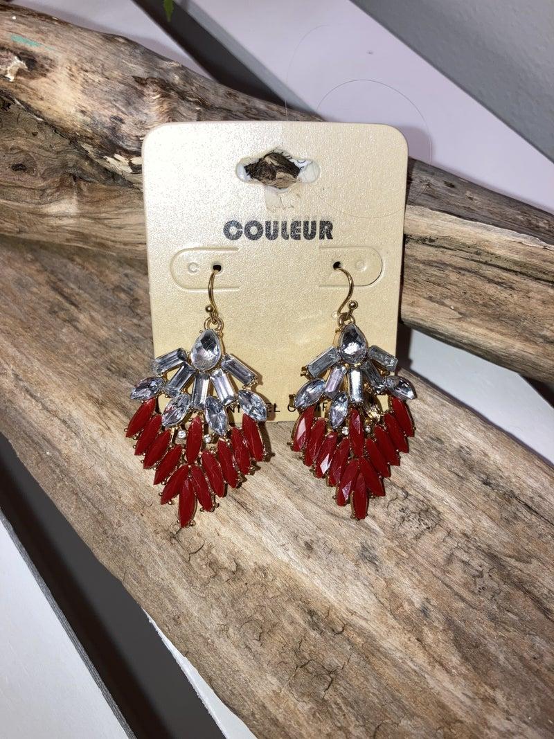 Red/gray crystal earrings