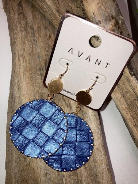 Blue checkerboard earrings