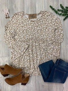 Taupe bell sleeve animal print top