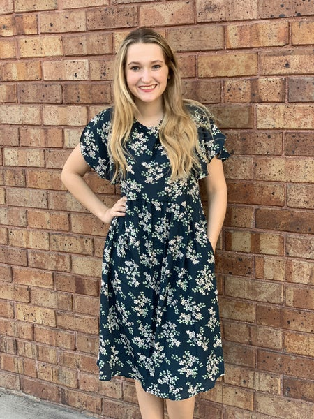 Teal Floral Dress w/ Pockets