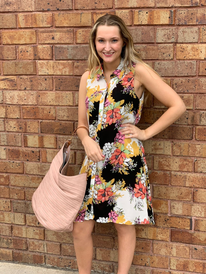 Black Floral Sleeveless Collared Dress