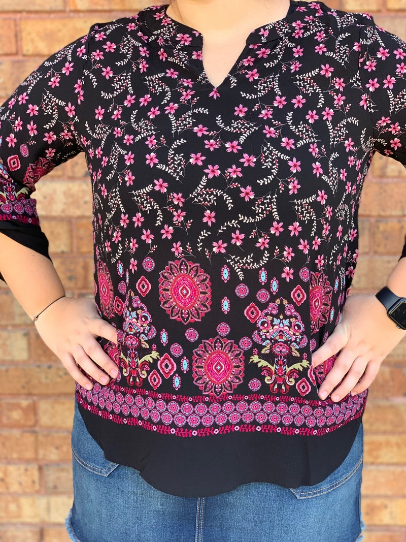 Hot Pink Floral Rolled Sleeve Top