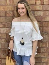 Ivory Off Shoulder Ruffle Top