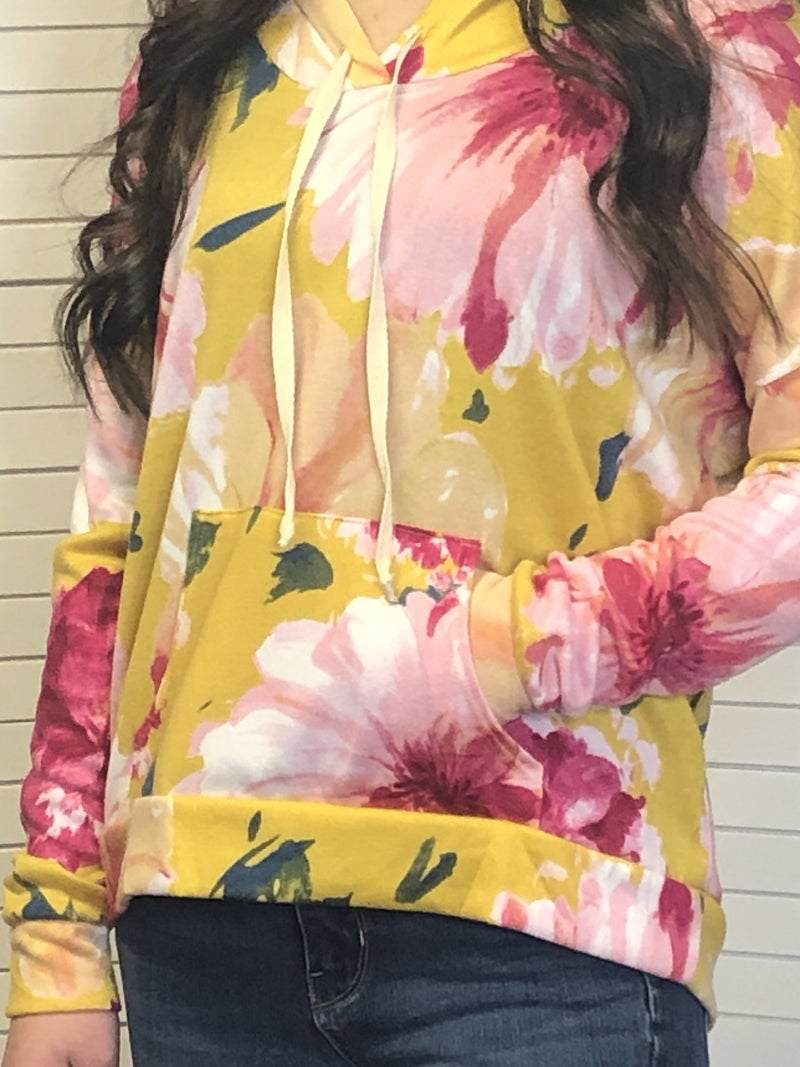 Floral hoodie with pocket