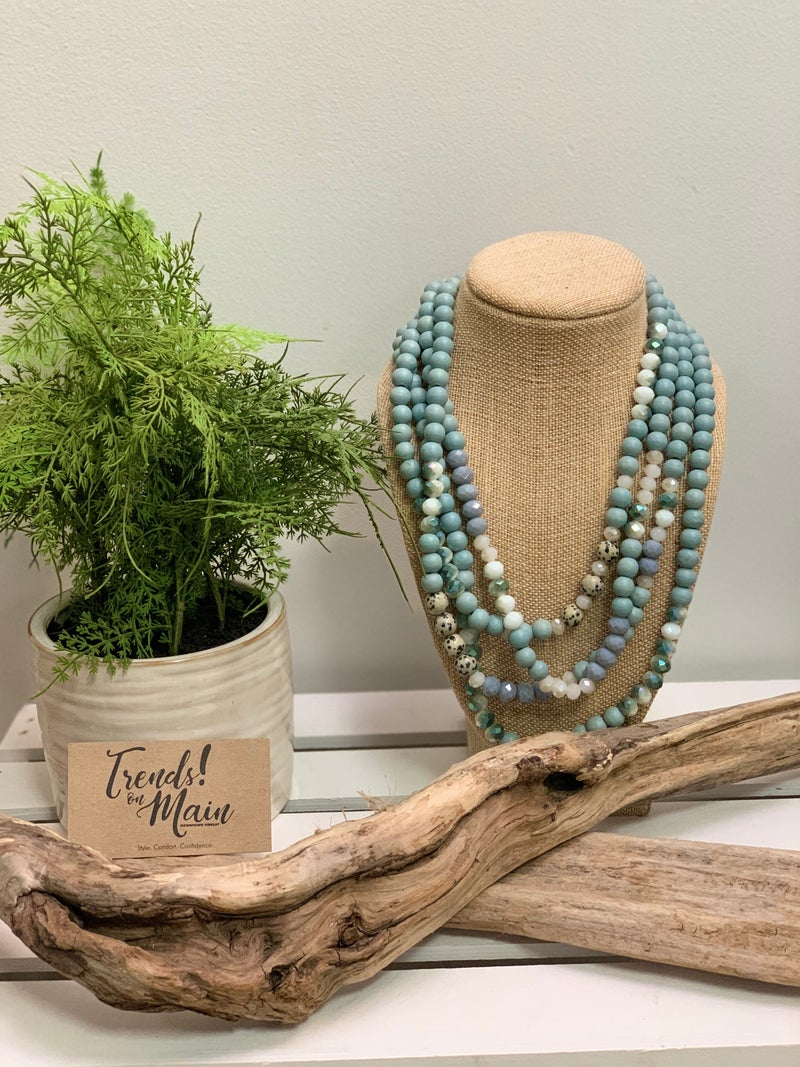 Turq multi-stand beaded necklace