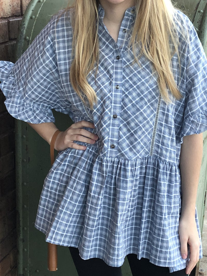Plaid Button Down Shirt with Ruffle Sleeves