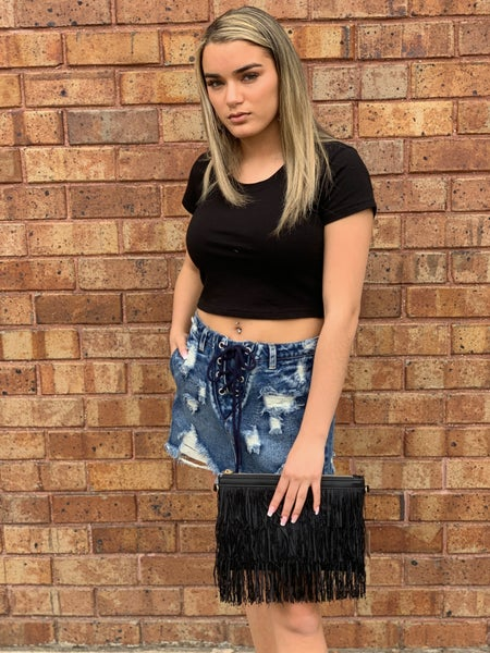 Distressed Jean Skirt with Lace Waist