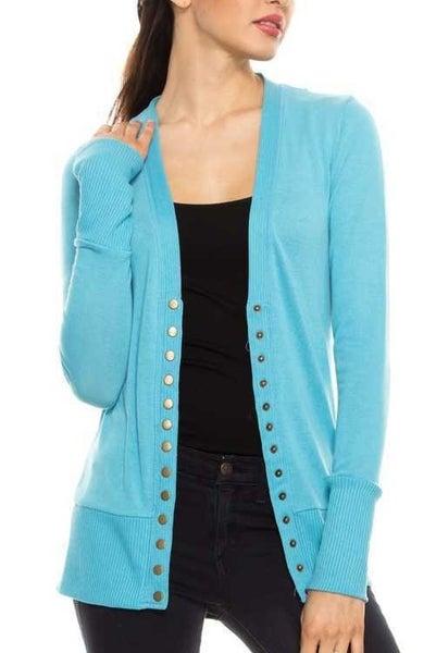 milky blue snap sweater