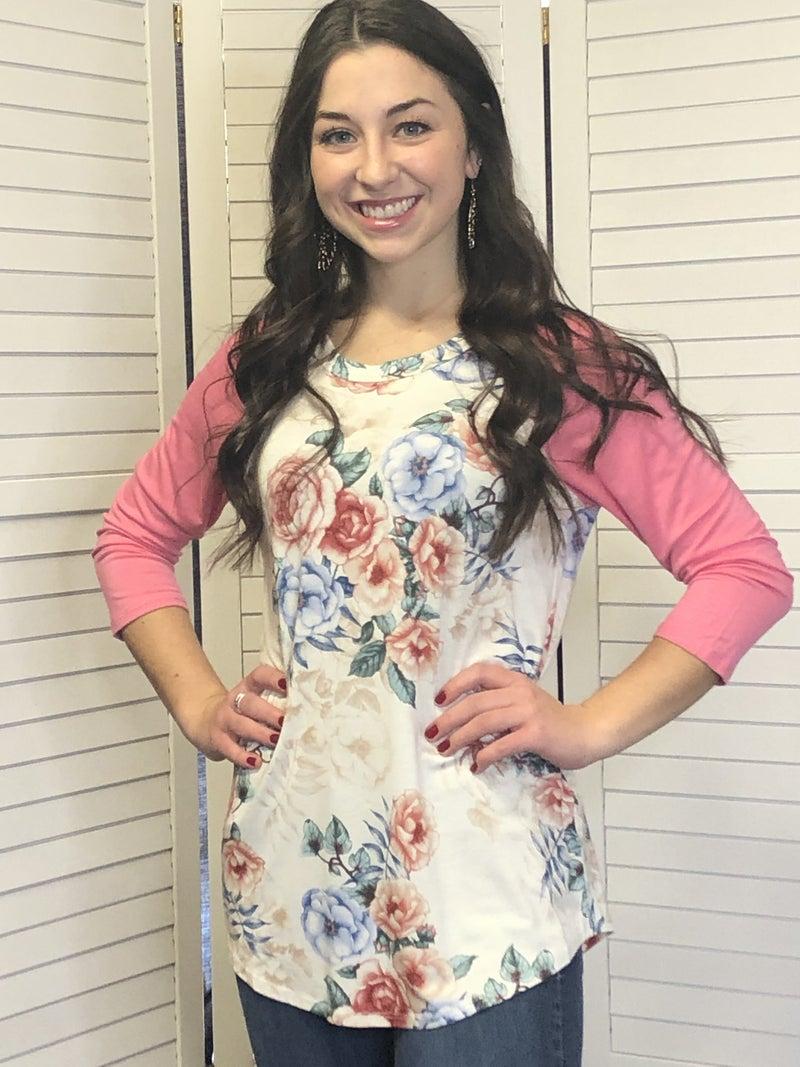 Floral print raglan top with contrast sleeves