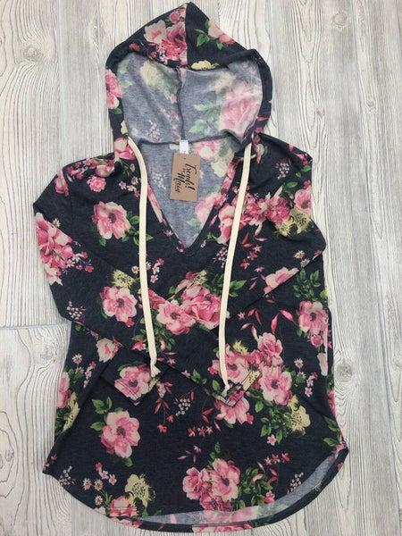 navy floral hoodie