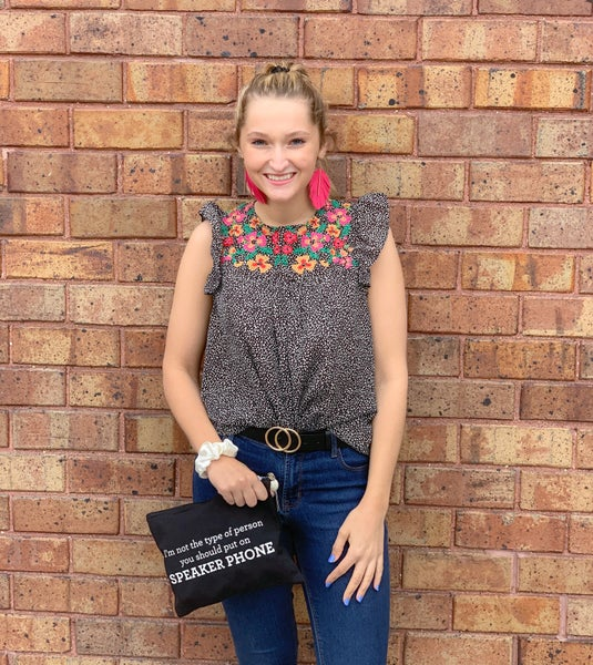 Black Embroidered Ruffled Top