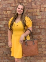 Semi off the shoulder fit and flare dress