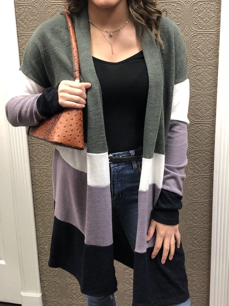 Color Block Sweater Cardi