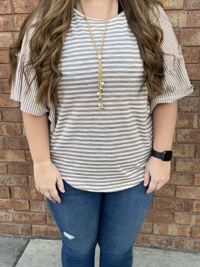 Stripe Mixed Mini Shirring Detail Tunic Top
