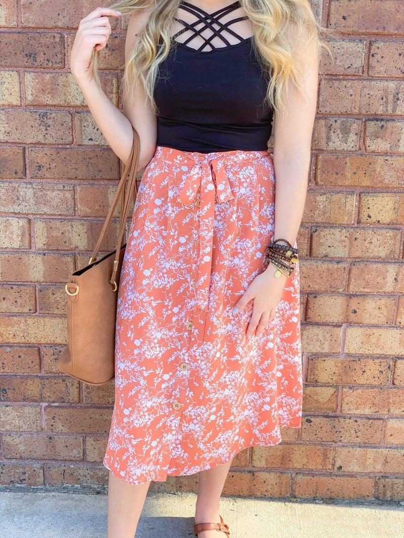 Dusty Orange Floral Skirt