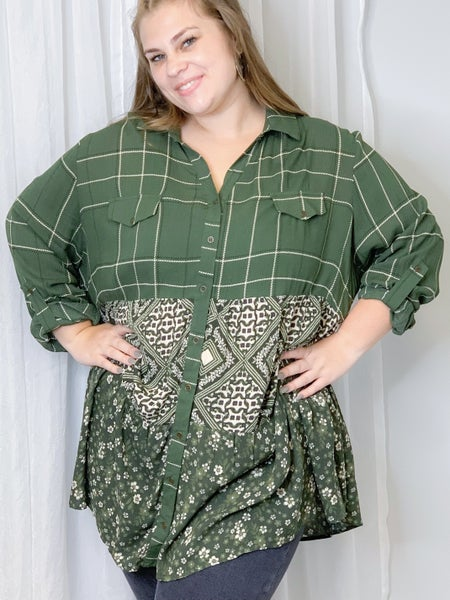 Olive Mix Print Button Down Top