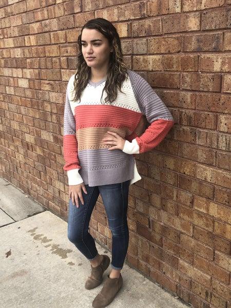 Hoodie Color Block Crochet Sweater