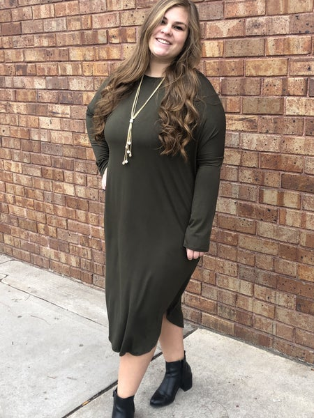 Olive jersey long sleeve dress with pockets
