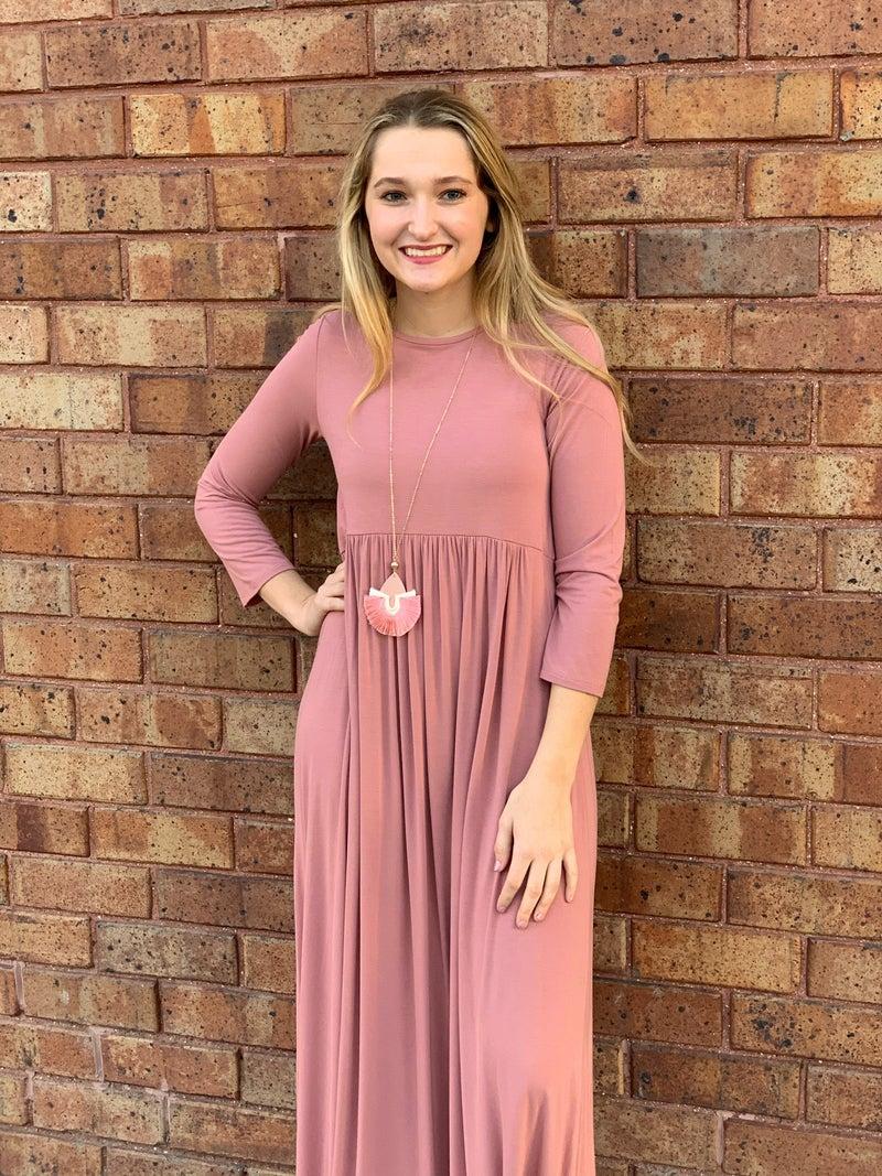 3/4 sleeve High Waisted Maxi Dress