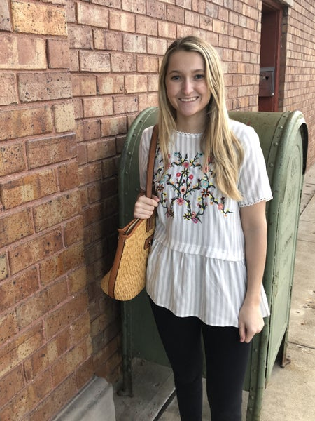 Floral Embroidered Back Keyhole Tunic Top