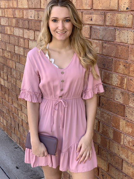 Pink Cinched Waist Dress