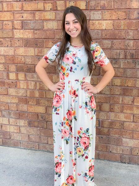 Floral Print Baby Doll Maxi Dress