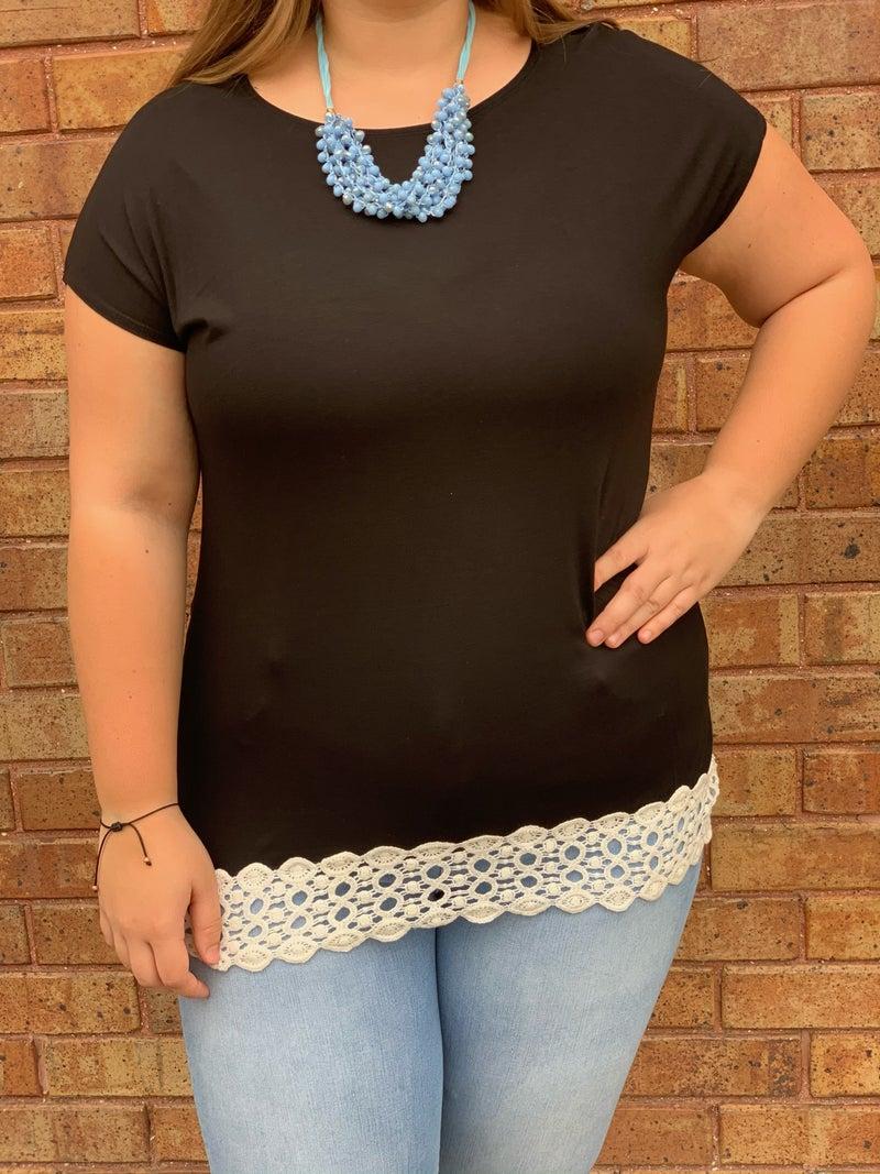 Crochet Hemline T-shirt Top