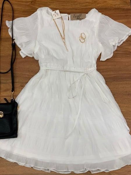 White Pleated Chiffon Dress