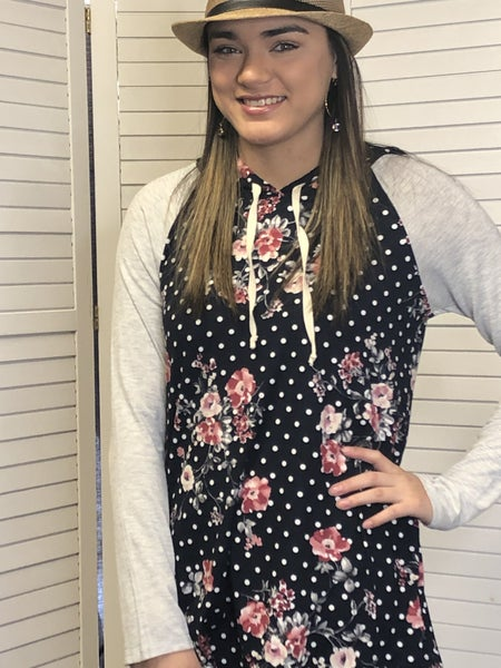 Floral and dot hoodie with hidden pocket