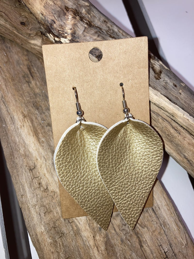 gold leather leaf earrings