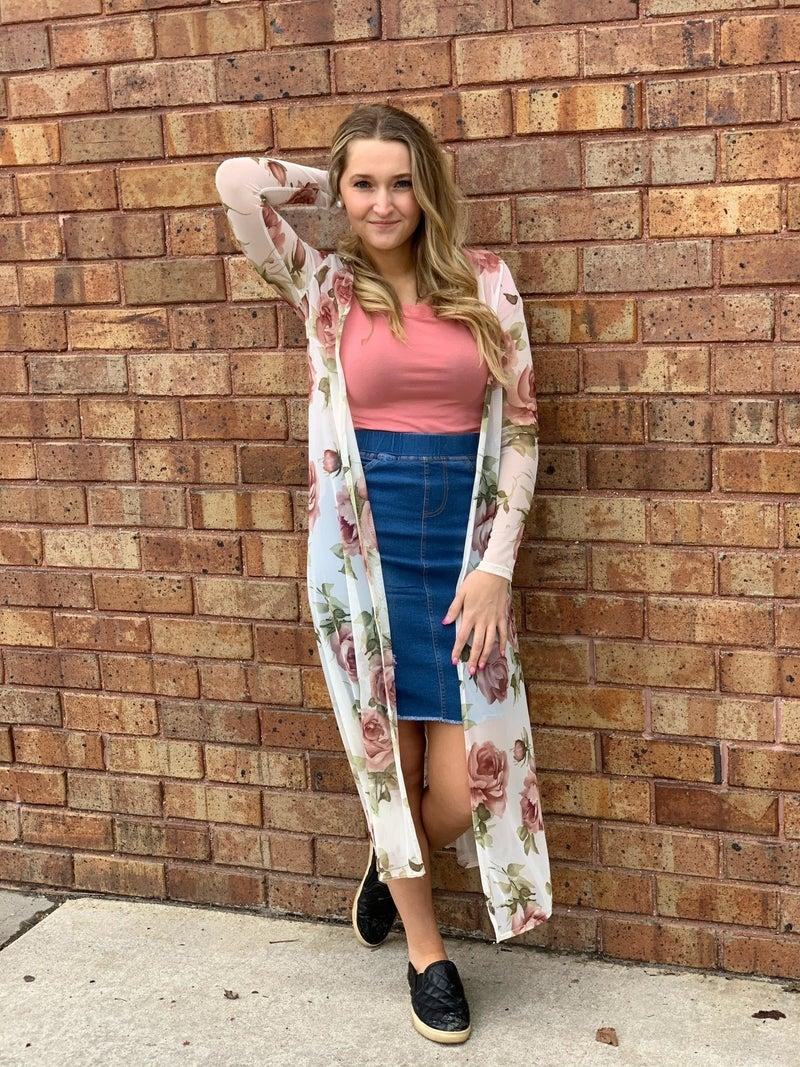 Long Rose Kimono
