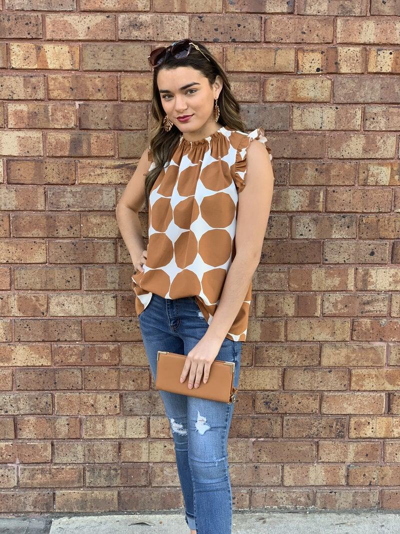 Bold-dot Print Shirring Neck Top