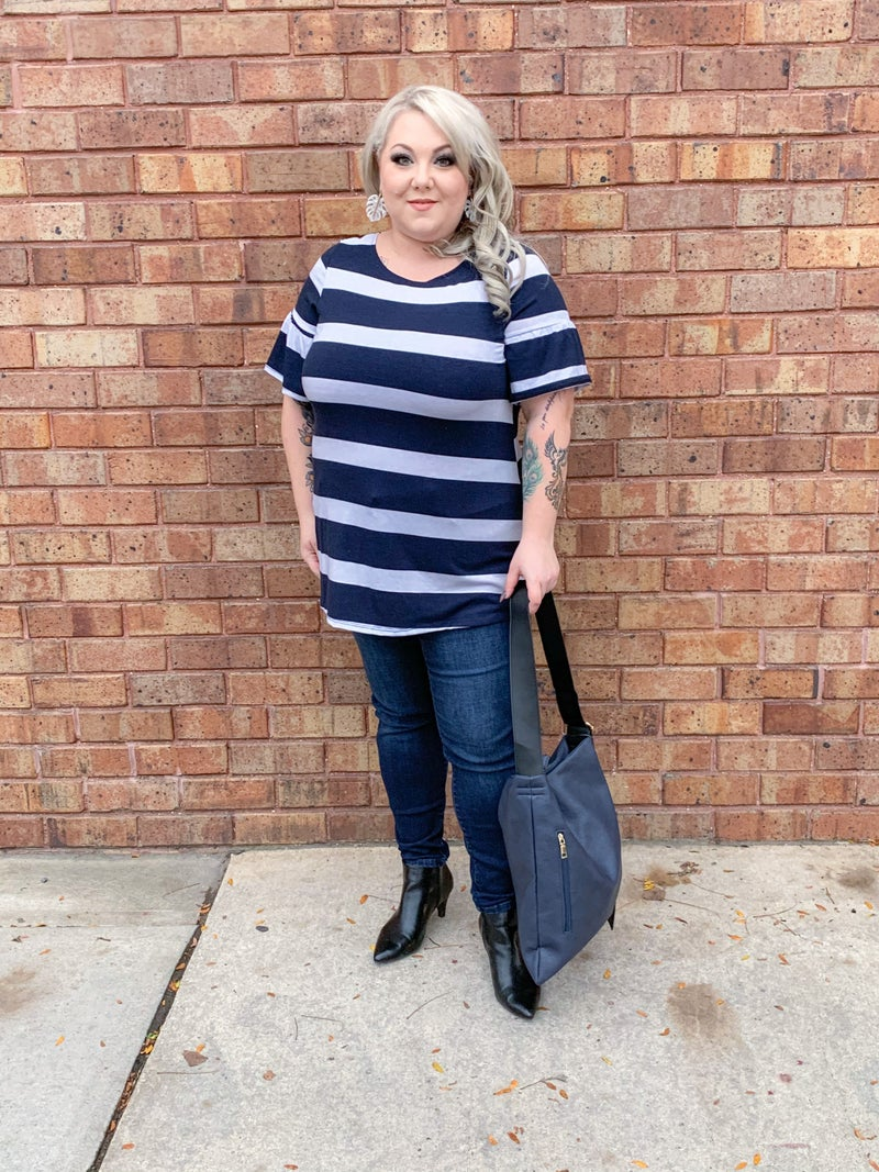 Striped Tunic with ruffle sleeves