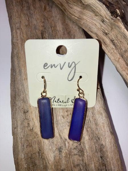 Blue bar earrings
