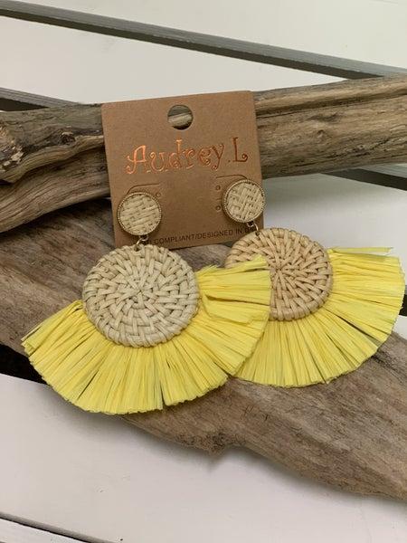 Yellow rattan earrings