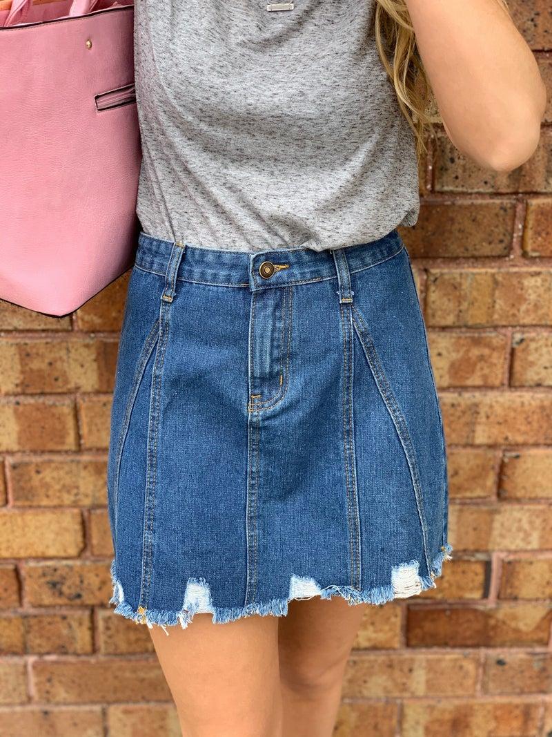 Distressed Jean Skirt w/ Snap Waist