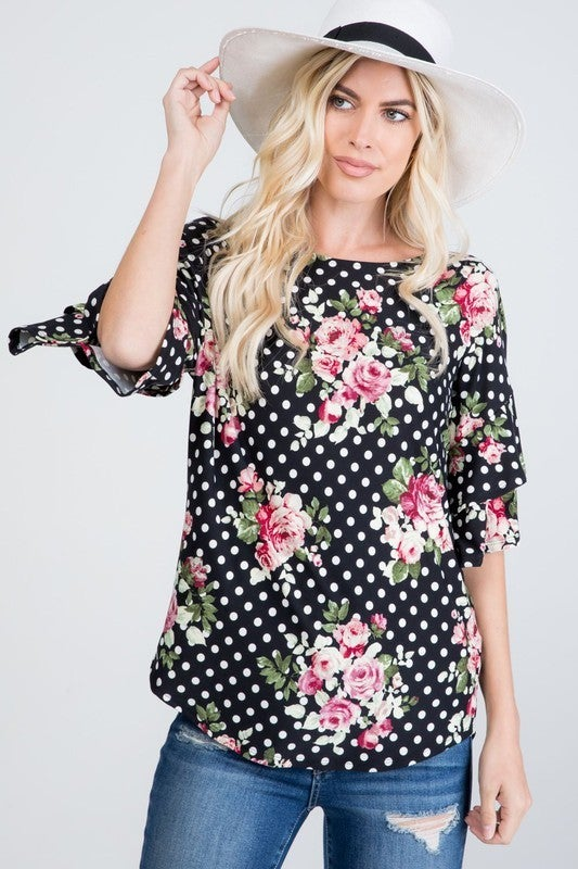 Floral Polka Dot Ruffle Sleeve Top